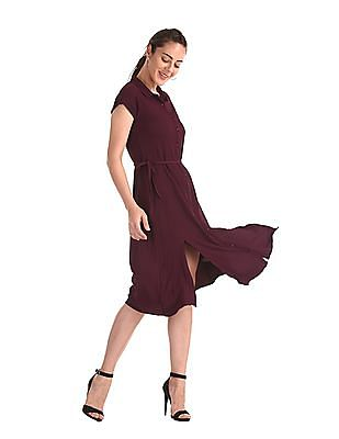 Elle Studio Purple Front Slit Solid Shirt Dress