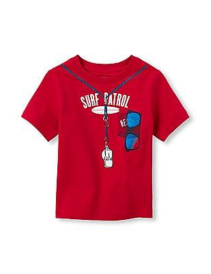 The Children's Place Toddler Boy Red Short Sleeve 'Beach Patrol' Lifeguard Graphic Tee