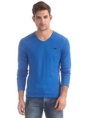Flying Machine Blue Long Sleeve V-Neck T-Shirt