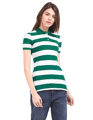 Nautica Striped Piqued Cotton Polo Shirt