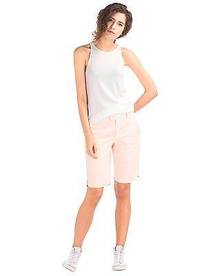 GAP Women Pink Stretch Twill Bermuda Shorts