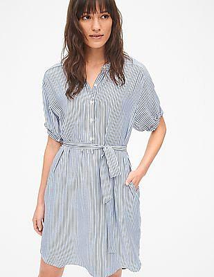 GAP Perfect Roll Sleeve Stripe Shirt Dress
