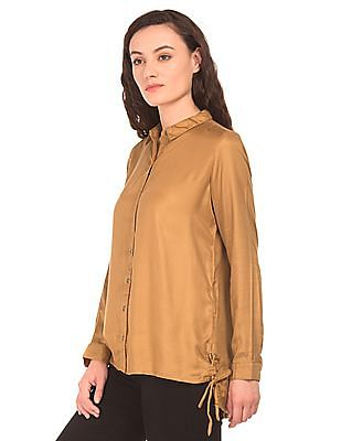 Cherokee High Low Hem Long Sleeve Shirt