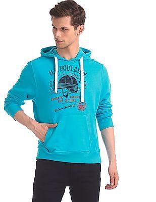 U.S. Polo Assn. Blue Drawstring Hood Brand Print Sweatshirt