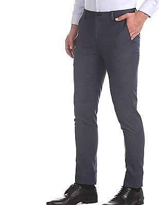 Arrow Newyork Blue Super Slim Fit Patterned Weave Trousers