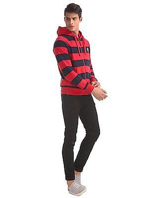 U.S. Polo Assn. Red Hooded Striped Sweatshirt