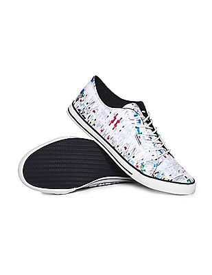 Flying Machine Patterned Lace Up Sneakers