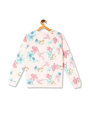 U.S. Polo Assn. Kids Pink Girls Floral Print Cotton Sweatshirt