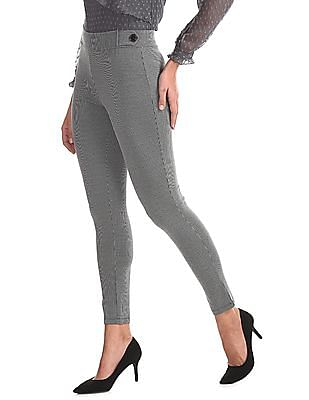 Elle Studio Black And White Patterned Knit Trousers