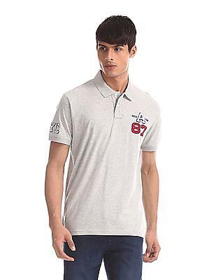 Aeropostale Grey Heathered Brush Cotton Polo Shirt