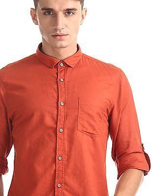 Cherokee Orange Roll Up Sleeve Cotton Linen Shirt