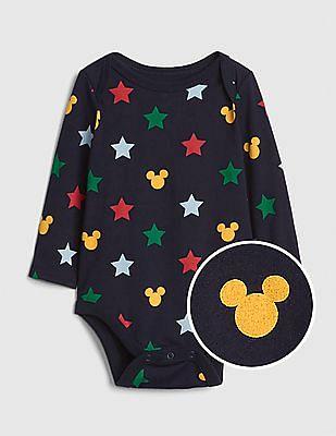 GAP Baby Blue Print Long Sleeve Bodysuit