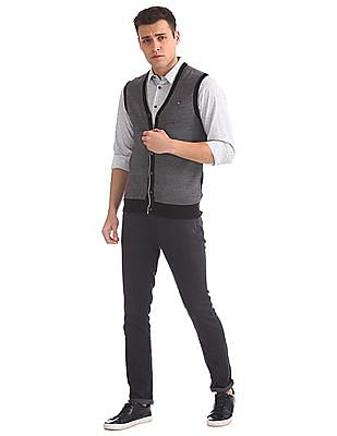 Arrow Sports Buttoned Patterned Knit Cardigan