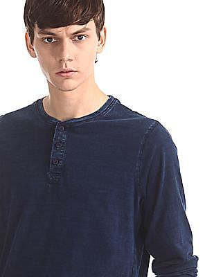 Cherokee Blue Solid Cotton Henley T-Shirt