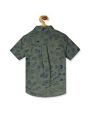 The Children's Place Boys Short Sleeve Doodle Print Poplin Button-Down Shirt