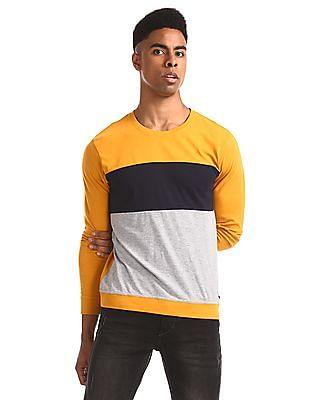 Flying Machine Yellow Crew Neck Colour Block T-Shirt