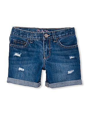 The Children's Place Girls Distressed Denim Shorts