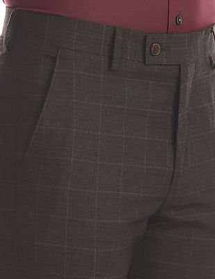 Arrow Brown Flat Front Tonal Check Trousers