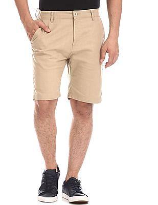Ruggers Beige Mid Waist Woven Shorts