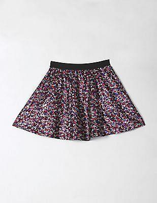 GAP Girls Multi Colour Berry Sequin Flippy Skirt