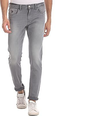 U.S. Polo Assn. Denim Co. Grey Brandon Slim Tapered Fit Stone Wash Jeans