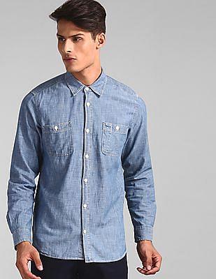 GAP Blue Regular Fit Chambray Shirt