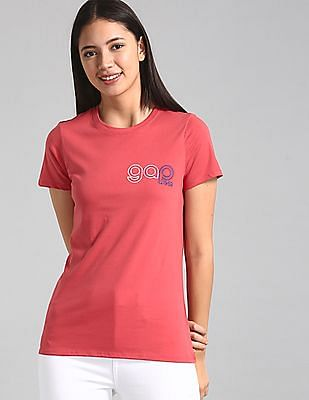 GAP Red Embroidered Logo Crewneck T-Shirt