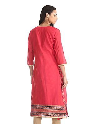 Anahi Pink Metallic Print Kurta With Jacket