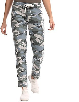 Aeropostale Green Camo Print Fleece Track Pants