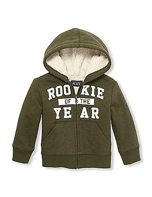 The Children's Place Toddler Boy Green Active Puff Print 'Rookie Of The Year' Full-Zip Faux Sherpa Hoodie