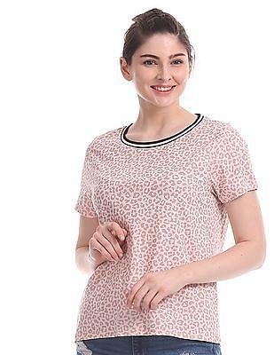 Aeropostale Pink Allover Animal Print T-Shirt