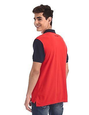 Ed Hardy Red Colour Block Pique Polo Shirt