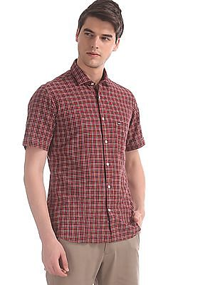 Arrow Sports Red Regular Fit Spread Collar Shirt