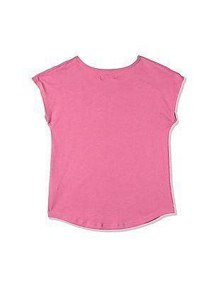 GAP Girls Pink Smocked Sleeve Top