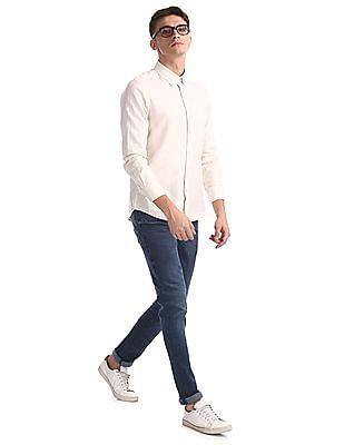 Arrow Sports White Button Down Collar Slim Fit Shirt