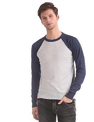 Ruggers Grey Raglan Sleeve Colour Block Sweater