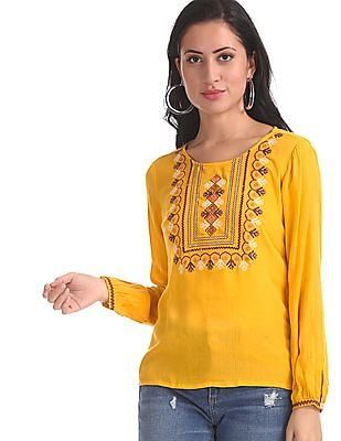 Bronz Yellow Embroidered Front Long Sleeve Top