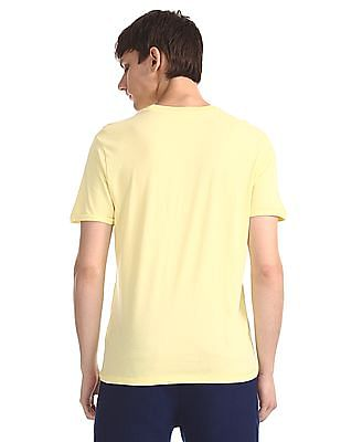 Aeropostale Yellow Printed Cotton Jersey T-Shirt