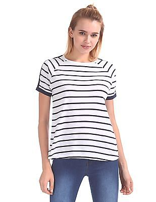 Flying Machine Women Striped Raglan Sleeve T-Shirt