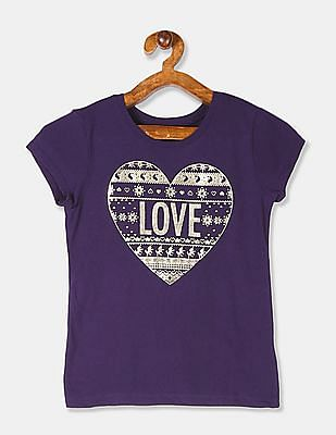 The Children's Place Girls Purple Foil Print Cotton T-Shirt