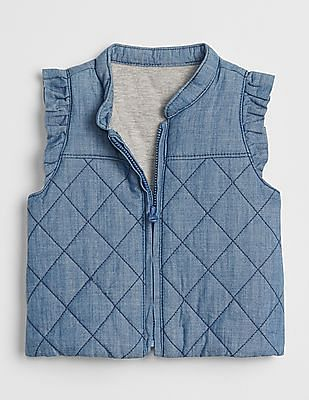 GAP Baby Blue Chambray Jersey-Lined Vest
