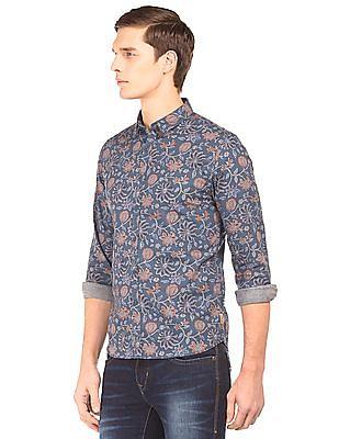 Flying Machine Floral Printed Slim Fit Shirt