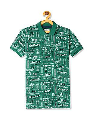 U.S. Polo Assn. Kids Green Boys Printed Pique Polo Shirt