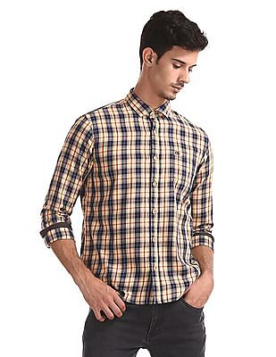 Roots by Ruggers Yellow Contemporary Regular Fit Check Shirt