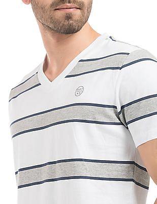 Aeropostale Striped V-Neck T-Shirt