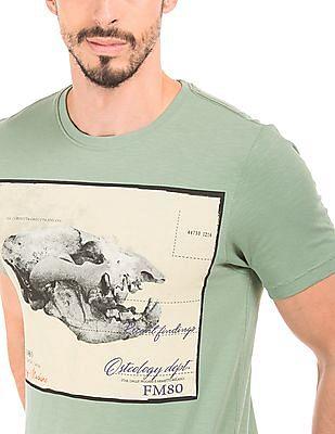 Flying Machine Graphic Print Slubbed T-Shirt