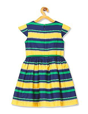 U.S. Polo Assn. Kids Girls Striped Fit And Flare Dress