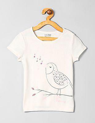 GAP Toddler Girl White Short Sleeve Graphic T-Shirt