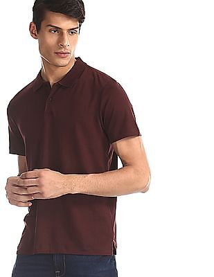 Arrow Brown Regular Fit Solid Polo Shirt