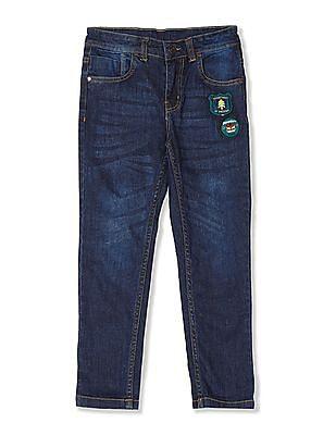 Cherokee Blue Boys Regular Fit Whiskered Jeans